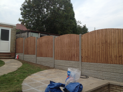 Closeboard fencing and landscaping