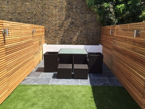 Slatted screen fencing for urban gardens